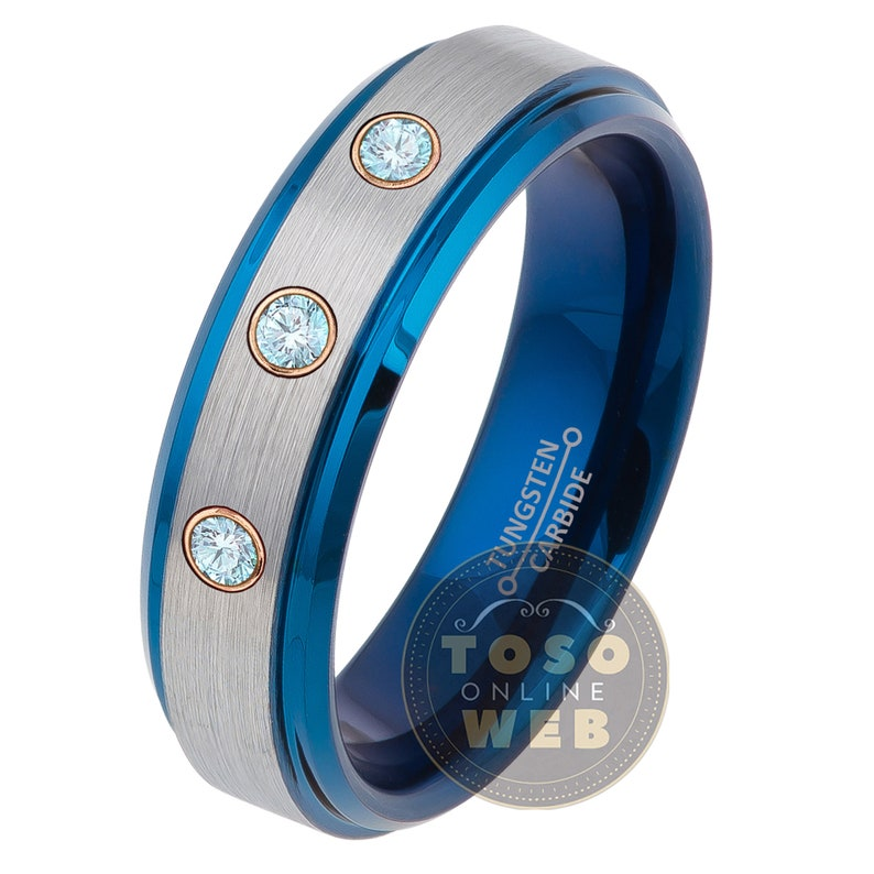 6mm Brushed Finish 2-Tone Blue IP Stepped Edge Tungsten Carbide Ring TS0814RG Women/'s Customizable Tungsten Birthstone Wedding Band