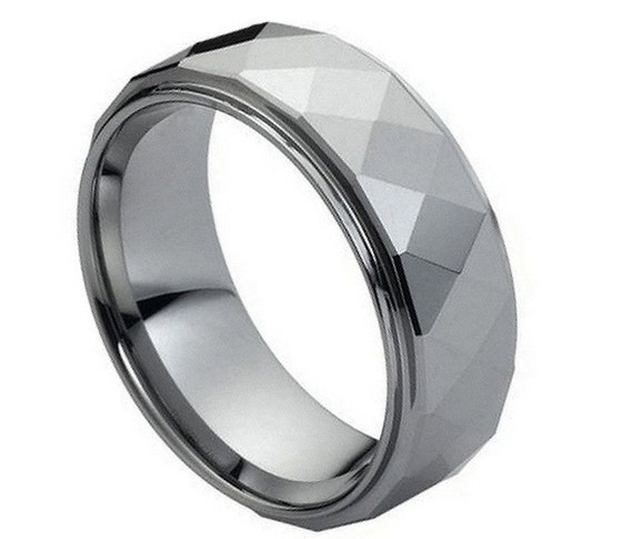 Mens 8mm Pipe Cut Edge Wedding Band Black Ion Plated Comfort Fit Tungsten Carbide Anniversary Ring