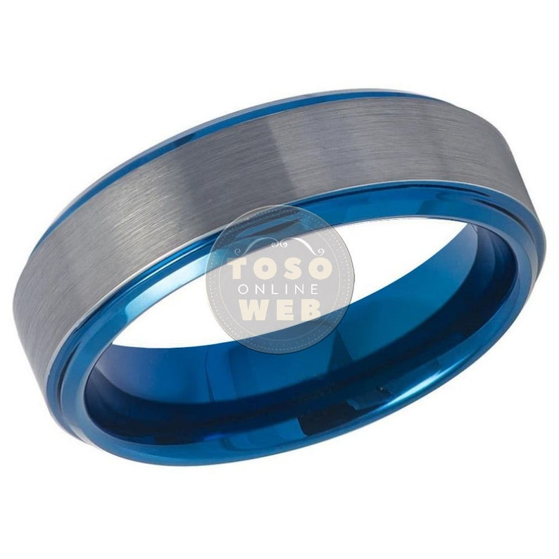 Unisex 6mm Stepped Low Beveled Edge High Polish Blue ion Plated w Steel Color Flat Brushed Center Finish Tungsten Carbide Ring TS8140