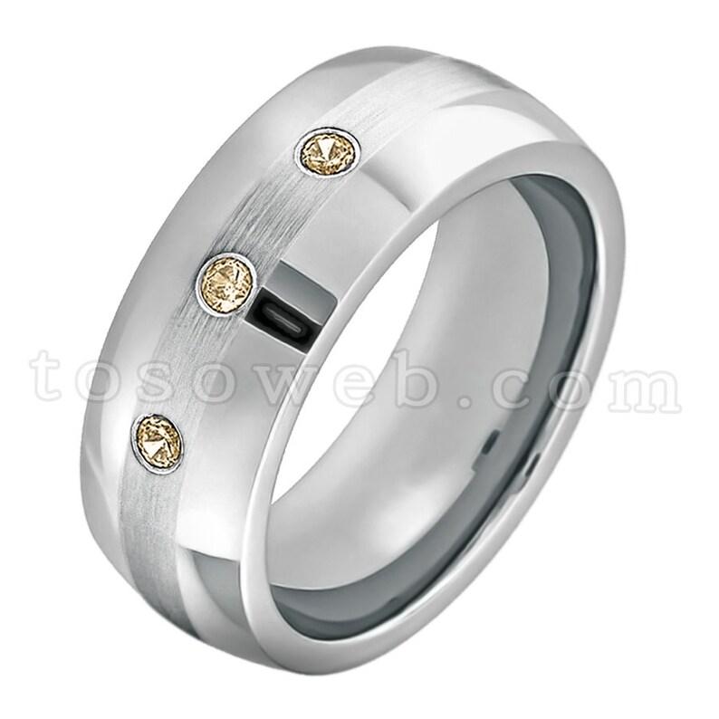 8mm Brushed Center Pipe Cut Edge Tungsten Carbide Ring TS0222 November Birthstone Ring Men/'s Smoky Quartz Wedding Band