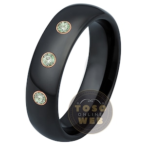 see description for details Custom Bezel-set Tungsten Band with Diamonds or Birthstones TS002 with FREE ENGRAVING