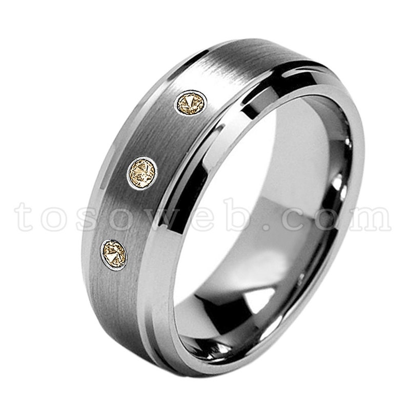 November Birthstone Ring,Brushed Center Beveled Edge Tungsten Carbide Ring TS1622 Men/'s Smoky Quartz /& Diamond Wedding Band