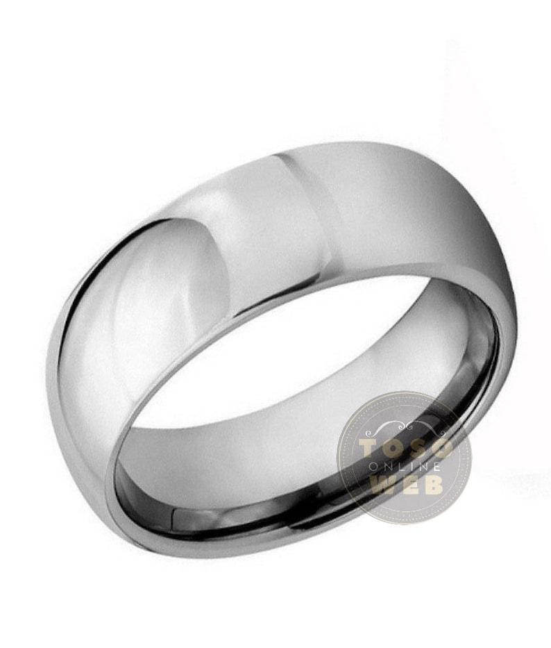 Men/'s Solid Tungsten Wedding Band Comfort Fit Tungsten Carbide Anniversary Ring TS013B2 8mm Semi-Dome High Polish Pipe Cut Edge