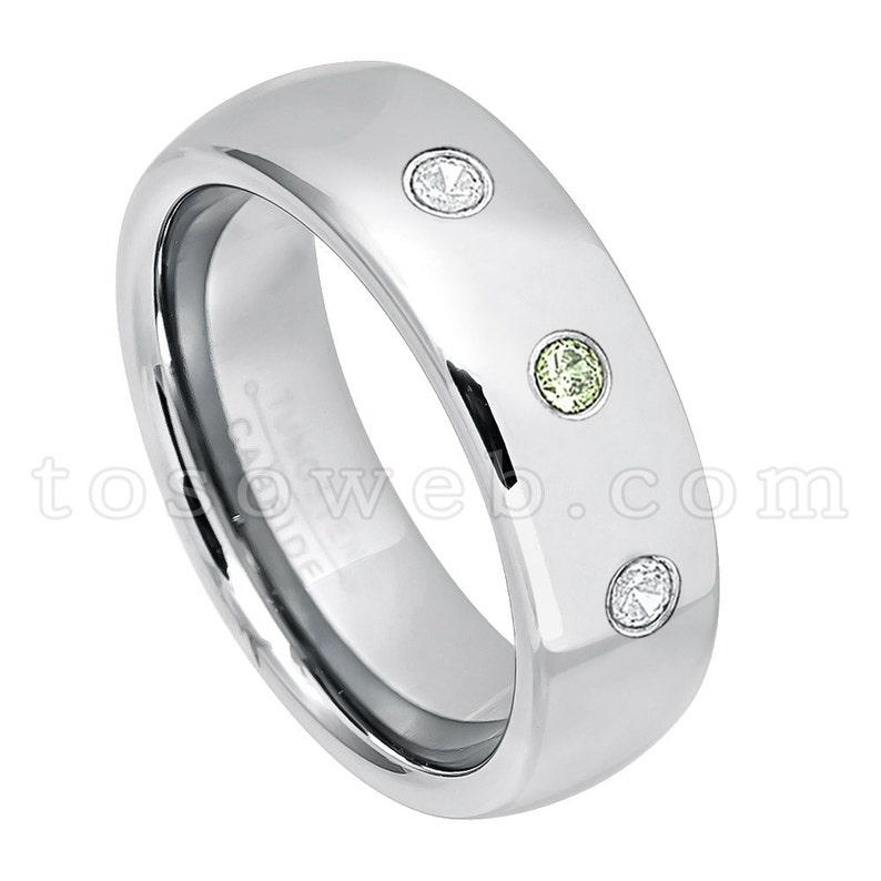 Men/'s Peridot /& Diamond Wedding Band 7mm Semi-Dome Polished Finish Tungsten Carbide Ring TS1752 August Birthstone Ring