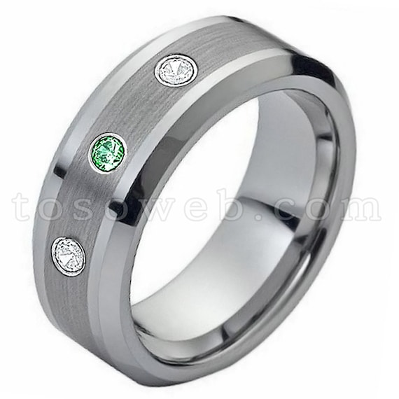 Men/'s Emerald Wedding Band May Birthstone Ring 8mm Black Ion Plated Brushed Stepped Edge Tungsten Carbide Ring TS0832