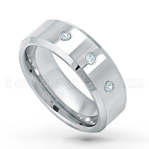 0.21ctw Diamond 3-Stone Ring 2-Tone Tungsten Ring April Birthstone Ring,Hammered Finish Black IP Comfort Fit Tungsten Wedding Ring TN708BS