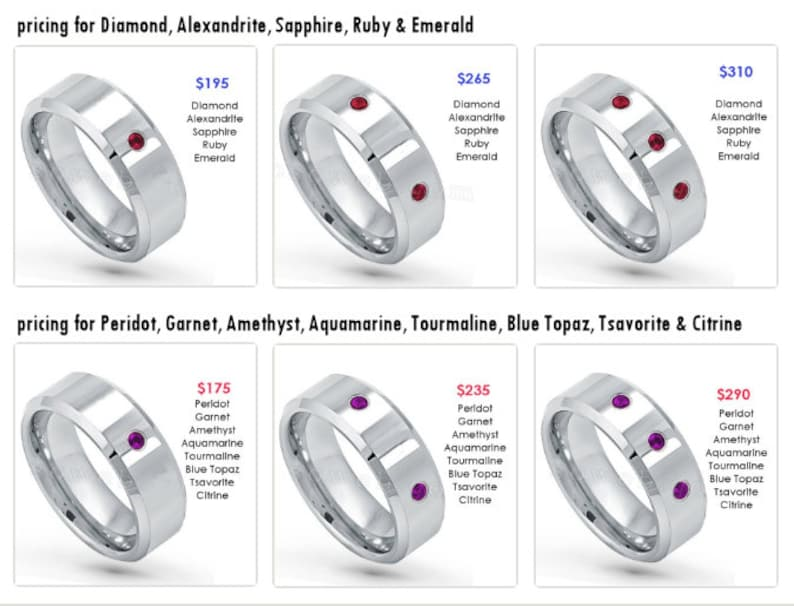 with FREE ENGRAVING Custom Bezel-set Tungsten Band with Diamonds or Birthstones see description for details TS231