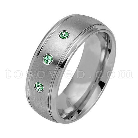 June Birthstone Ring 8.5 0.07ct Alexandrite Titanium Ring 8MM Brushed Finish Comfort Fit Classic Dome White Wedding Band