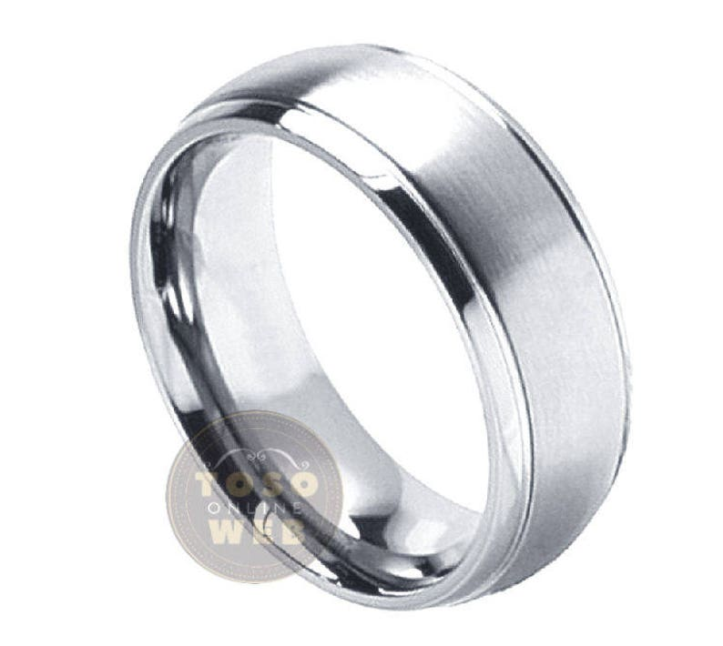 Men/'s 8mm Dome Stepped Edge Polished Titanium Wedding Band w Satin Finished Center Comfort Fit Anniversary Ring Ti2612