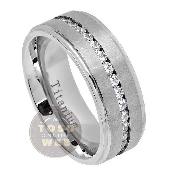 8mm Mens Titanium Ring Wedding Band Black Plated Center Combined Polish White Round Edge Comfort Fit
