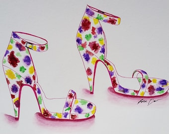 Fashion Illustration, Fashion, Floral, Floral Shoes, Mixed Media, Shoe art, heels drawing, high fashion, fashion drawing, heels, wall art