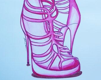 Pen & Ink, Fashion Illustration, Ink Drawing, Shoe art, fashion, heels drawing, high fashion, fashion drawing, ink, shoes, heels, wall art