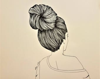 high bun girl art etsy