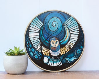 Shaman Drum - Owl. Traditionally handcrafted, individually hand-painted design.