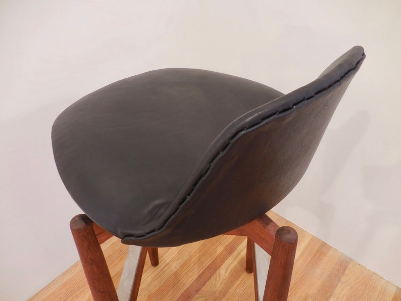 Arne Vodder for Sibast M\u00f8bler Teak Leather Bar Stool Danish Modern
