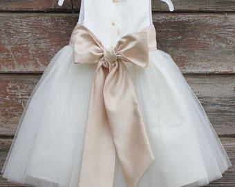 f858a4587a White Flower Girl dress bow sash pageant petals wedding bridal children  bridesmaid toddler elegant sizes 6-9m 12-18m 2 4 6 8 10 12 14  302t