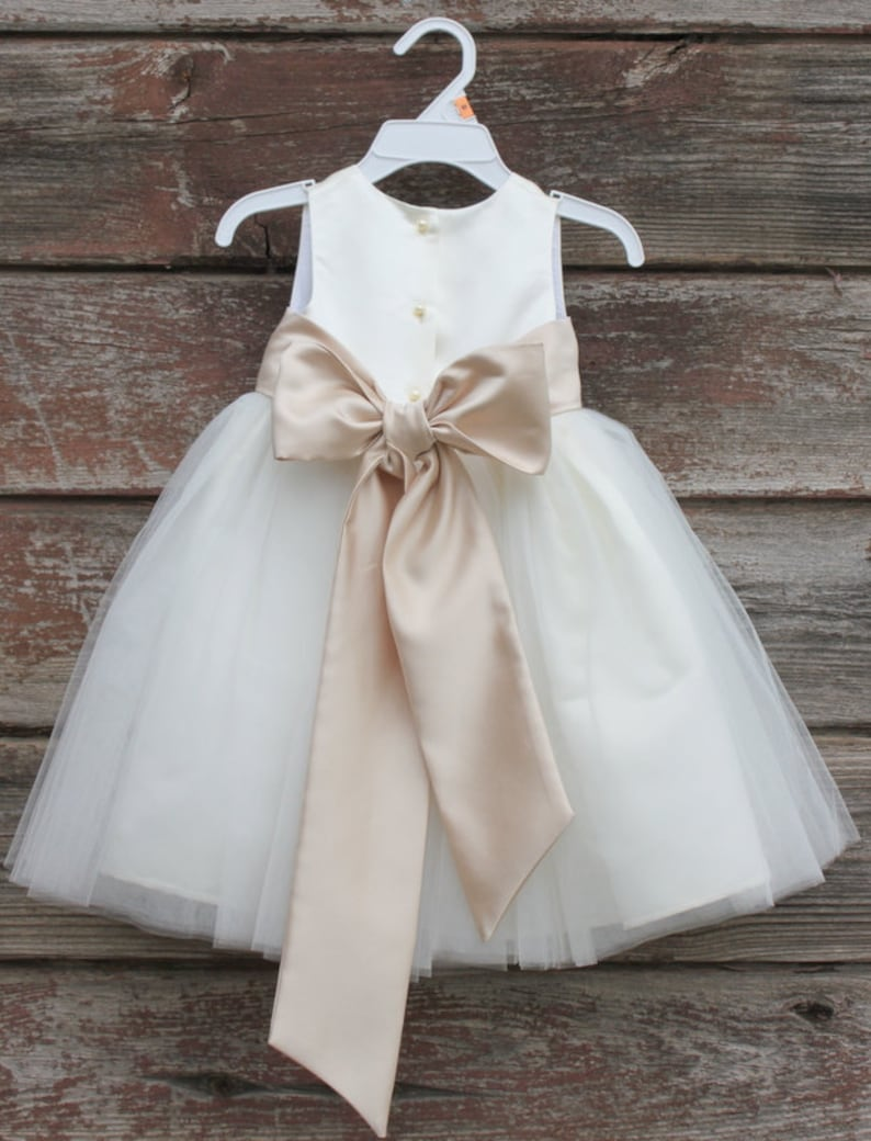 eb1ec804560 Flower Girl Dresses IVORY with Champagne FD0FL Wedding