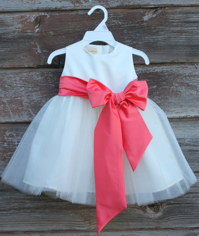 35b7fd303 Coral color dress Ivory Flower Girl dress Coral color bow sash pageant  petals wedding bridal children bridesmaid toddler elegant