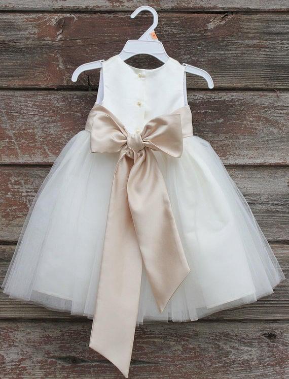 b99b269c999 White Flower Girl dress bow sash pageant petals wedding bridal