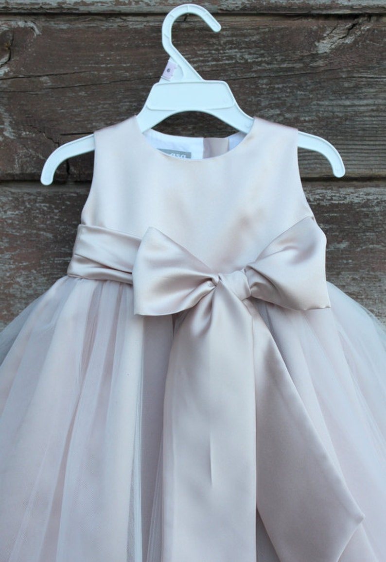 a393c367f Blush Flower Girl dress bow sash pageant petals wedding bridal children  bridesmaid toddler elegant