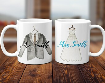 Mr and Mrs Mugs - Wedding, Wedding Party, Christmas, Gift, Gift Wrapping