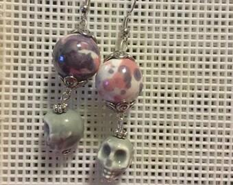 Pastel Gothic Skull Earrings - Great for Deathlings