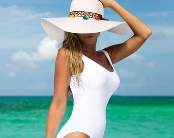Floppy Sun Hat Beach Hat with Tribal Band Wide Brim Straw Hat