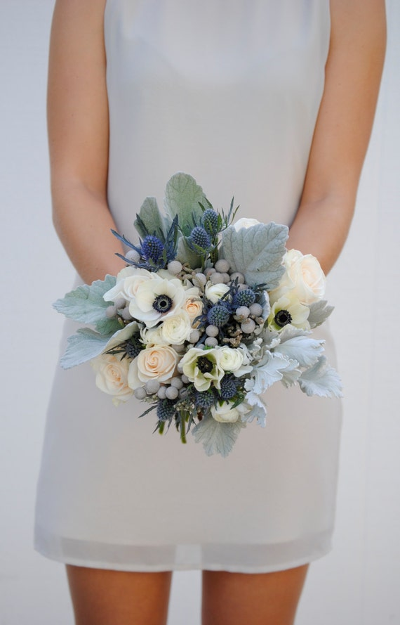 Navy blue wedding flower package dusty blue wedding anemone etsy image 0 mightylinksfo