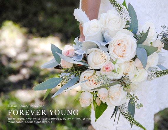 Blush Bridal Bouquet White And Blush Wedding Flowers Light Etsy