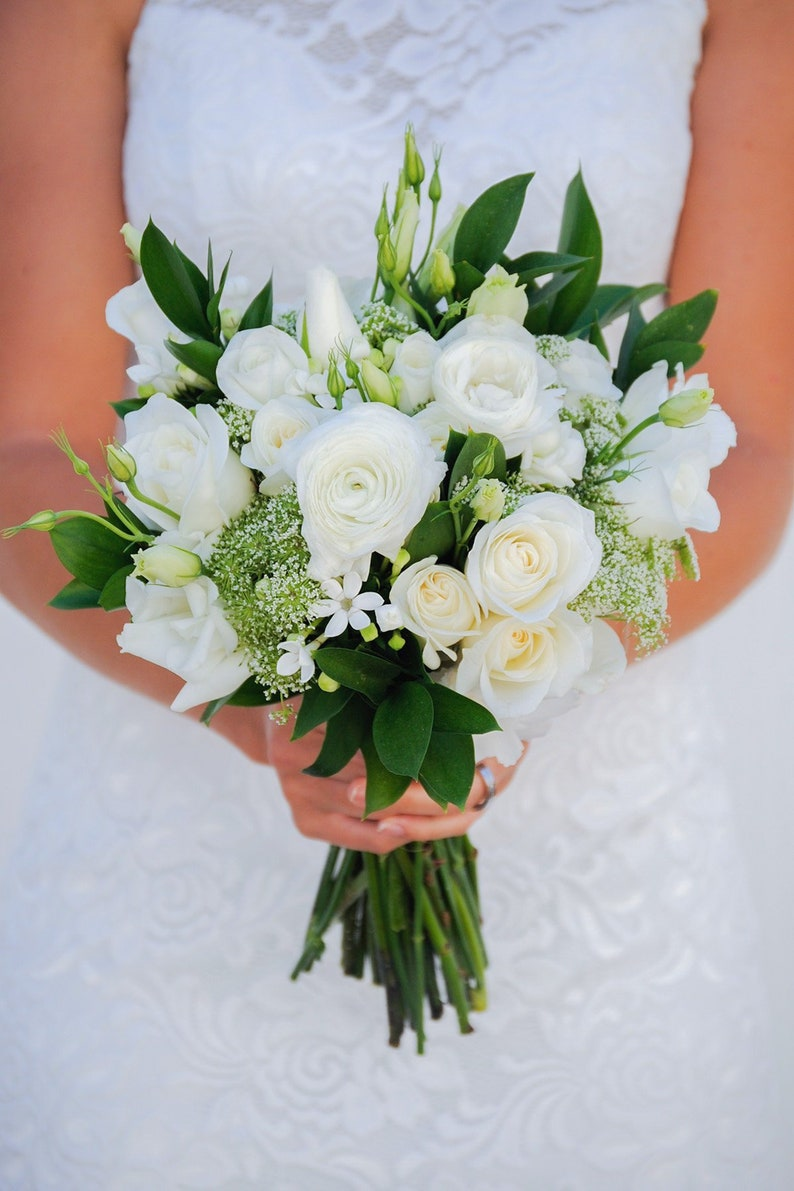 Simple White Wedding Flowers Bouquet Whimsical Wedding Etsy