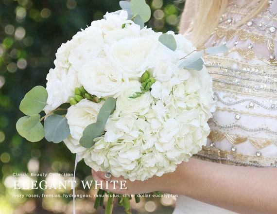 White hydrangea bouquet fresh flowers white bridal bouquet etsy image 0 mightylinksfo