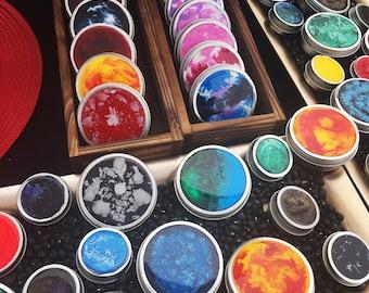 Decorated Round Storage Tins - Fluid Art & Resin, Custom Orders
