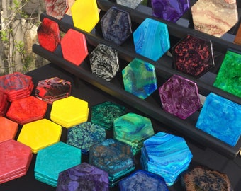 Hexagon Coasters - Fluid Art & Resin, Custom Orders