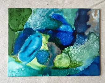 Blue Lagoon - Canvas Panel Art with Alcohol Ink