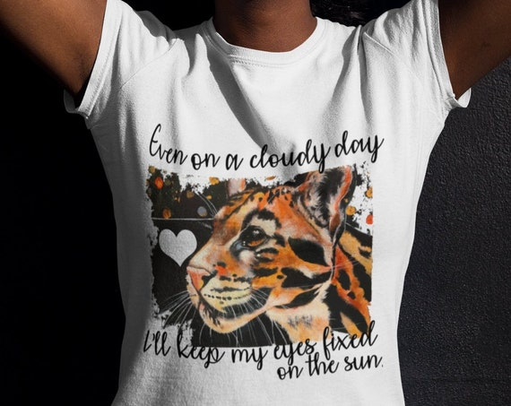 Clouded Leopard - Original Artwork - Women's Fitted Tshirt - 2 diff. text options