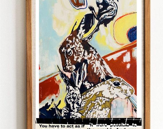 3 Hares - Angela Davis Quote - Original Artwork - Prints