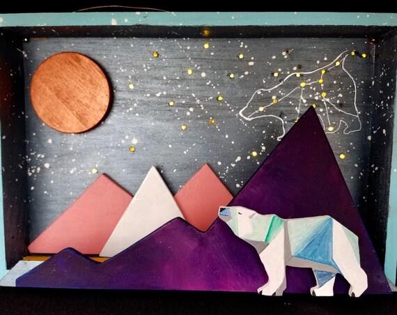 Starry Night, Light Up Shadow Box, Polar Bear - Handmade