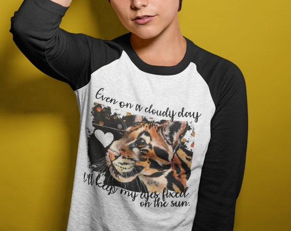 Clouded Leopard - Original Artwork  - Unisex Baseball Tshirts - Available with or without lyrics