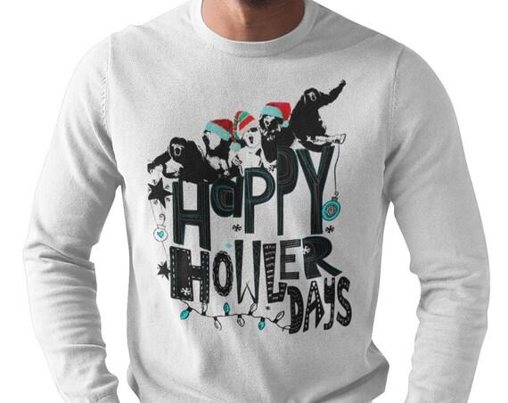 Happy HOWLERdays! Howler Monkey - Original Artwork - Unisex Long sleeve Shirt