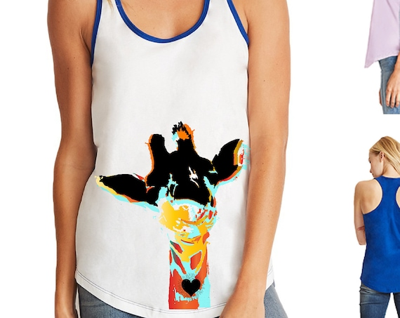 Giraffe Love - Original Artwork - Ombre Racerback Tank