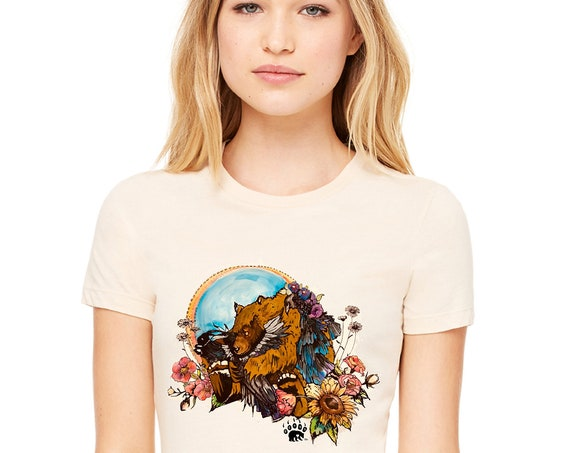 Bears Etc : Bear and Raven Tshirt - Women's Fitted