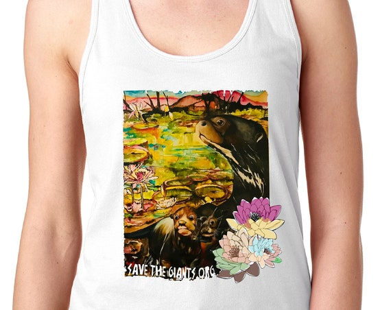 Save the Giants - Otter Mom and Pups: Racerback Tank- Original Artwork