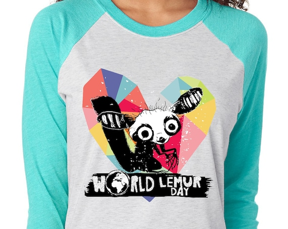 World Lemur Day - Aye Aye Geo Heart  - Unisex Baseball Tshirts
