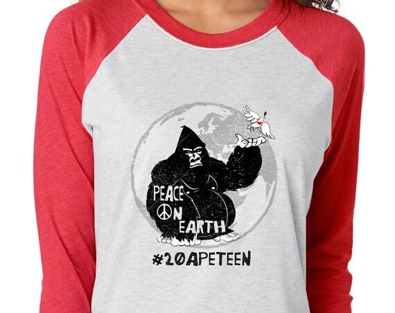 20APETEEN - Peace on Earth Gorilla- Unisex Baseball Tshirts