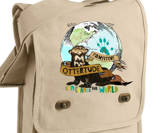 A PAWsitive OTTERtude Can Change the World - Giant Otter - Original Artwork - Messenger Bag