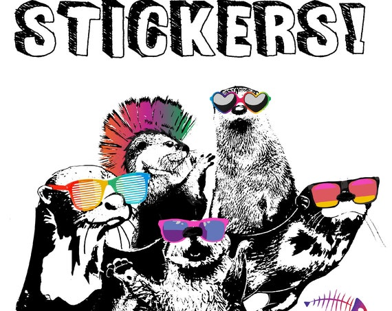 """STICKERS! - World Otter Day - Benefitting Save the Giants - Vinyl Stickers -4""""x 4"""""""