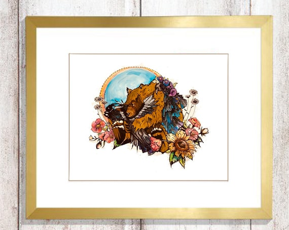 Bear and Raven - BOHO Style - Original Watercolor and Ink - FRAMING Matte Included!