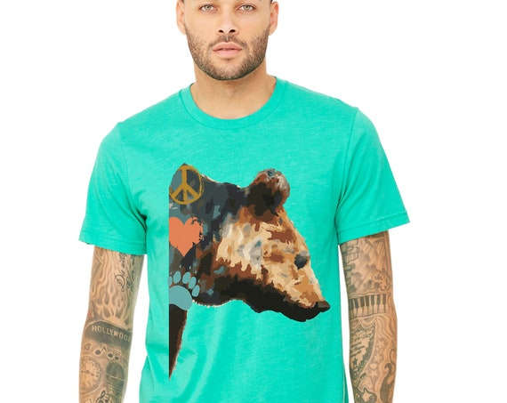 Bears Etc : Heathered Tshirt - Unisex - Peace Love and Bears