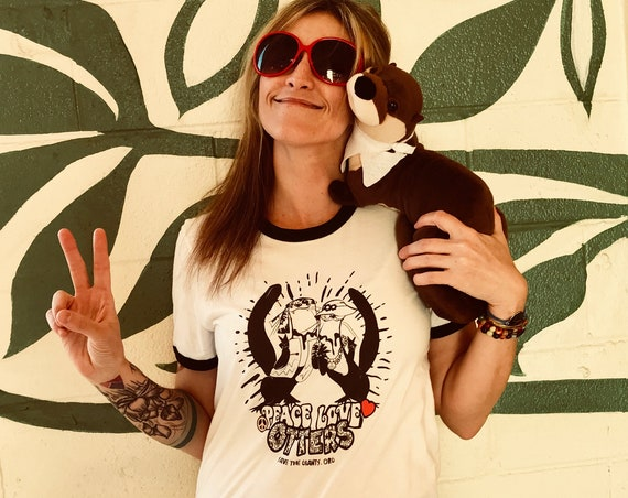 Peace, Love and Otters, Save the Giants - Unisex Ringer T - 2 Available Designs and Colors