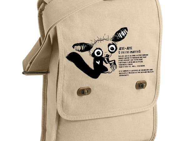 Adorable Aye Aye Conservation Messenger Bags! - Original Artwork